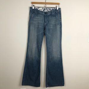 7 For All Mankind   Medium Wash Wide Leg Trouser